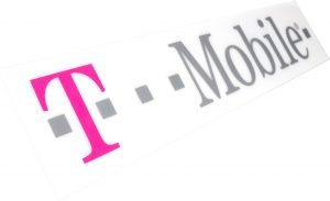 Sign T Mobile rectangle white pink grey